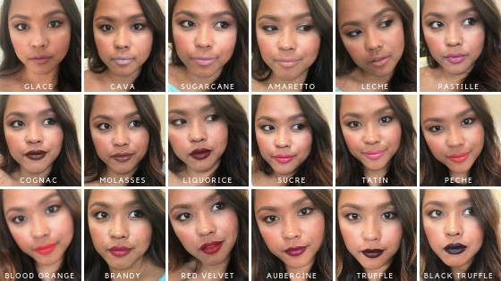 Bite Beauty Matte Creme Lip Swatches with Labels